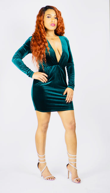 """Hunter Green"" Velvet Long Sleeve Mini Dress"