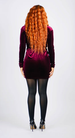 """Passion Plum"" Velvet Long Sleeve Mini"