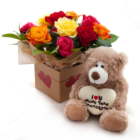 Assorted Roses with Bear