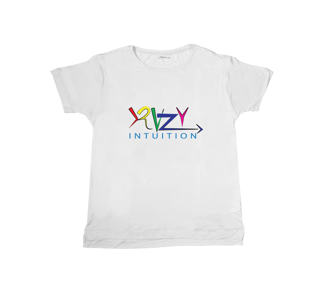 KRAZY INTUITION APPAREL PREMIUM T-SHIRT PRINT - UNISEX SLIM FIT- White