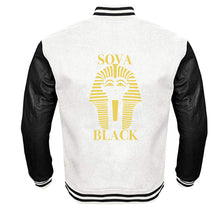 Load image into Gallery viewer, SOVA BLACK APPAREL VARSITY PERFORMANCE FLEECE LEATHER SLEEVE
