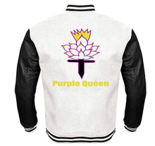 Load image into Gallery viewer, PURPLE QUEEN VARSITY PERFORMANCE FLEECE LEATHER SLEEVE