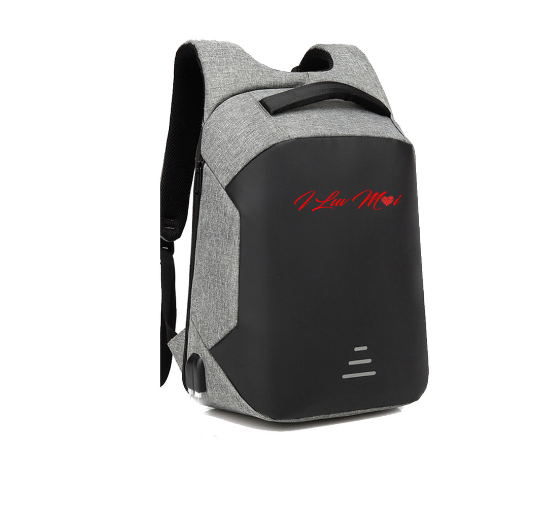 ILUVMOI APPAREL HARD SHELL BACKPACK w/ BATTERY SUPPORT