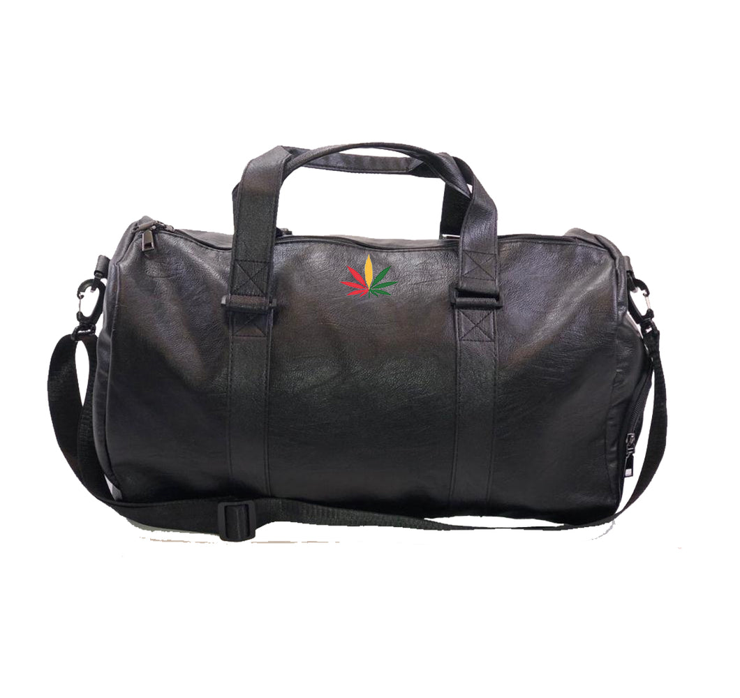 GANJA LIFE APPAREL Vegan Leather Duffel Bag w/ Side pockets