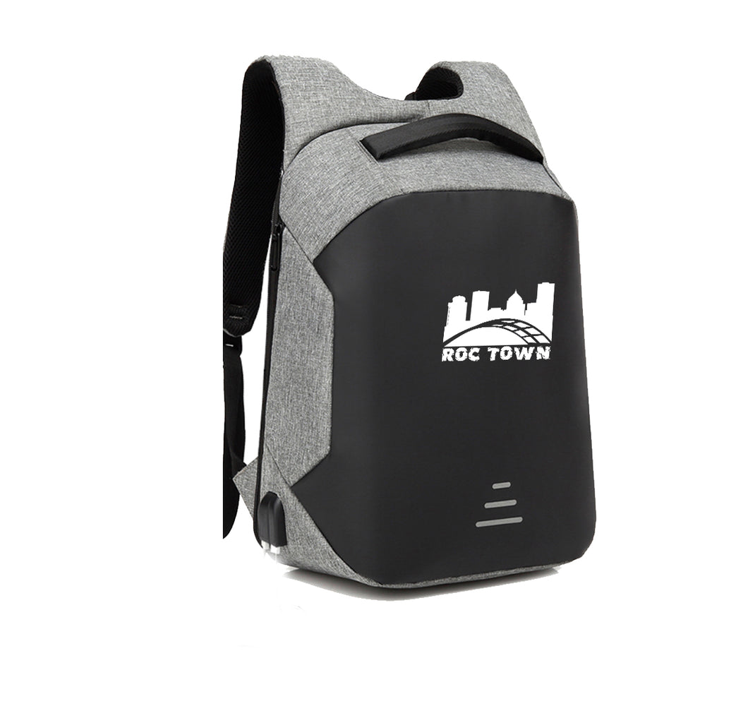 ROCTOWN APPAREL HARD SHELL BACKPACK w/ BATTERY SUPPORT