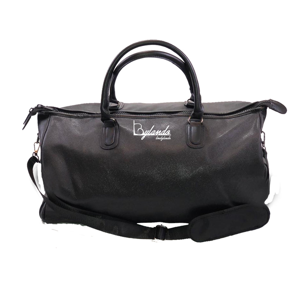 LINE BY LANDO APPAREL Vegan Leather Overnight Bag w/ Side pockets