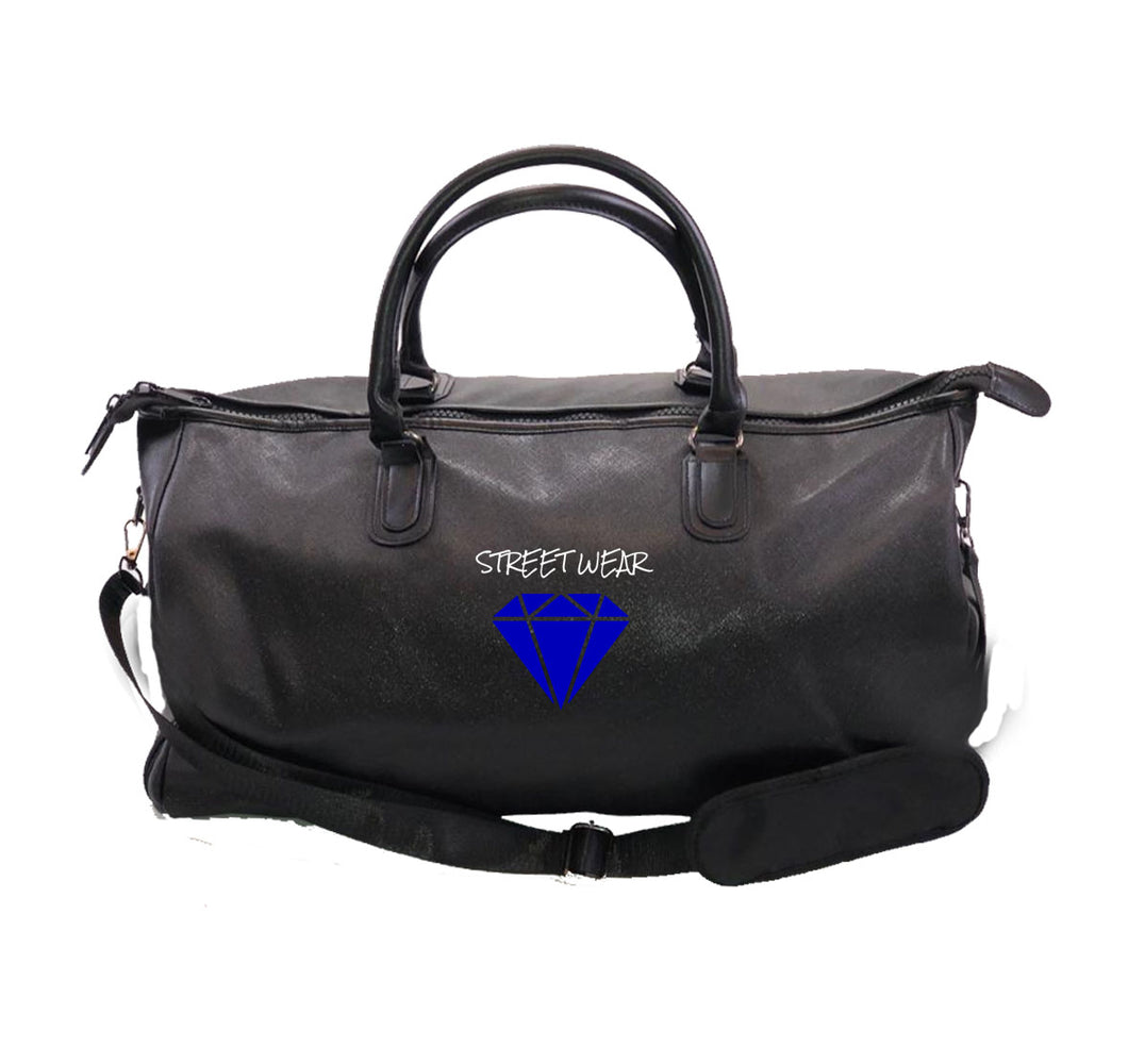 RARE STREETWEAR APPAREL Vegan Leather Overnight Bag w/ Side pockets