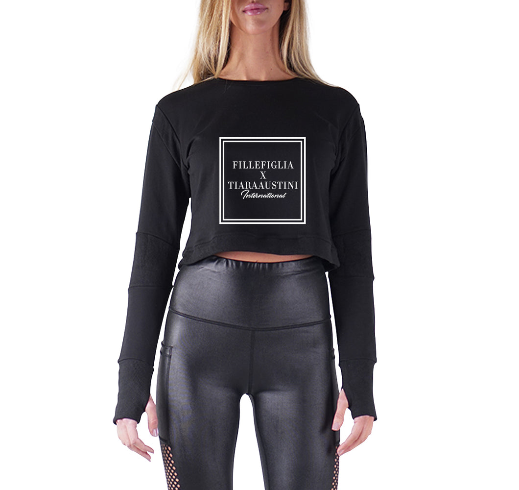 FILLEFIGLIA X TIARAAUSTINI APPAREL PREMIUM LONG SLEEVE CROP TOP - WOMEN'S SLIM FIT