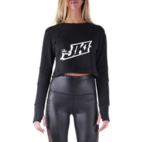 Load image into Gallery viewer, JUST KICKIN IT APPAREL PREMIUM LONG SLEEVE CROP TOP - WOMEN'S SLIM FIT