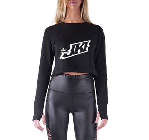 JUST KICKIN IT APPAREL PREMIUM LONG SLEEVE CROP TOP - WOMEN'S SLIM FIT