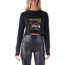 Load image into Gallery viewer, UNCHAINED APPAREL PREMIUM LONG SLEEVE CROP TOP - WOMEN'S SLIM FIT