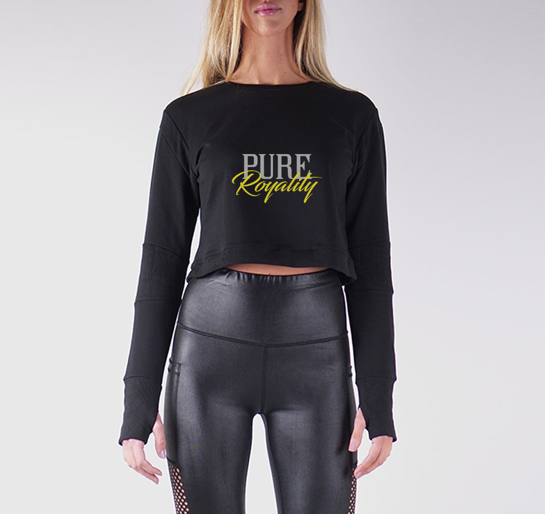 PURE ROYALITY PREMIUM LONG SLEEVE CROP TOP - WOMEN'S SLIM FIT