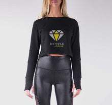 Load image into Gallery viewer, HUSTLE AUTHORITY PREMIUM LONG SLEEVE CROP TOP - WOMEN'S SLIM FIT