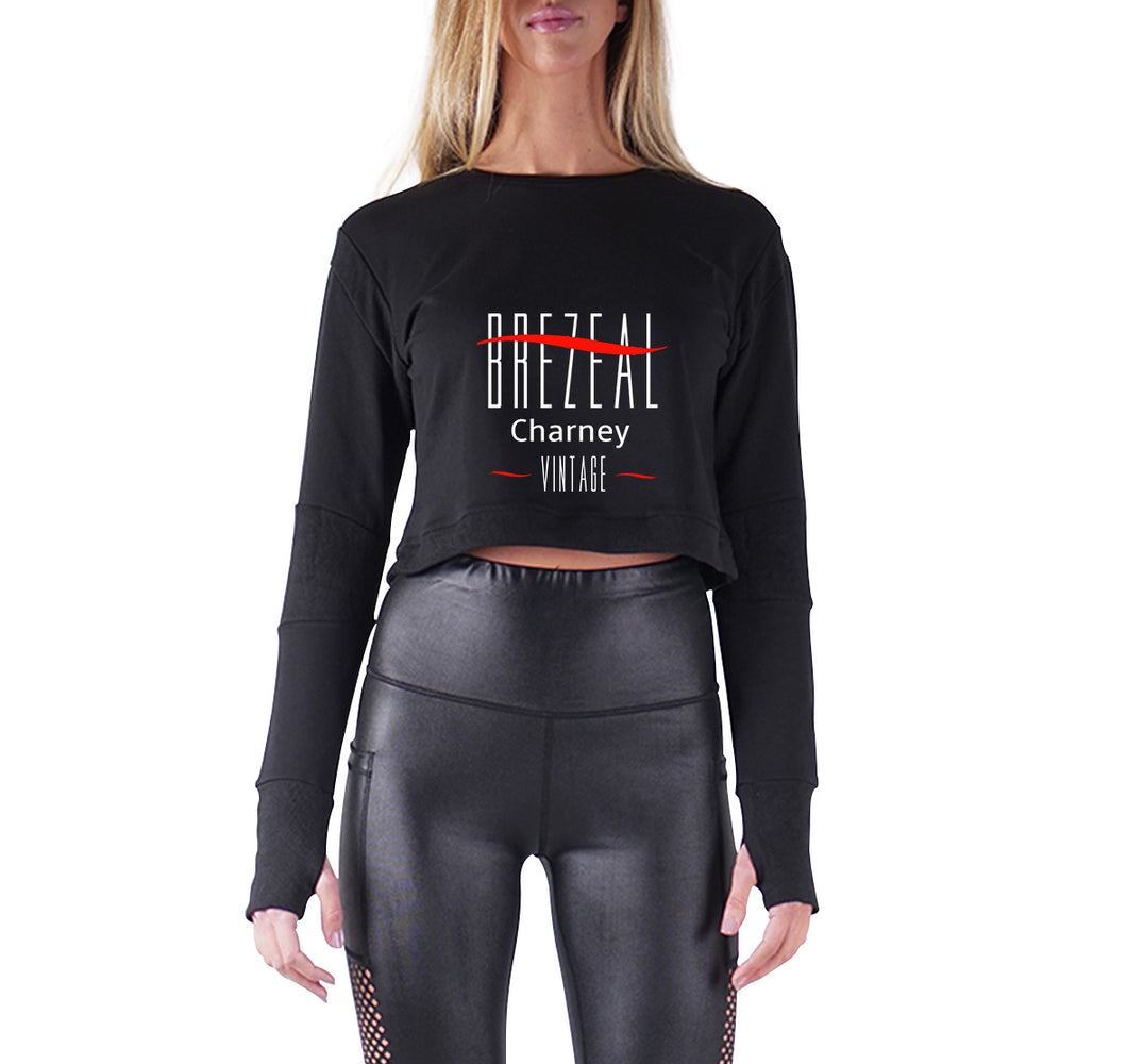 BREZEAL CHARNEY APPAREL PREMIUM LONG SLEEVE CROP TOP - WOMEN'S SLIM FIT