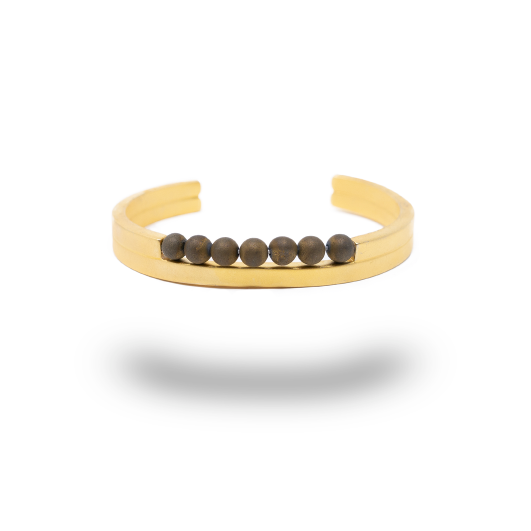 ENZO GOLD PLATED BANGLE QUARTZ BEADS
