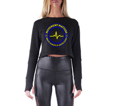 Load image into Gallery viewer, MOVEMENT MATTERS PREMIUM LONG SLEEVE CROP TOP - WOMEN'S SLIM FIT