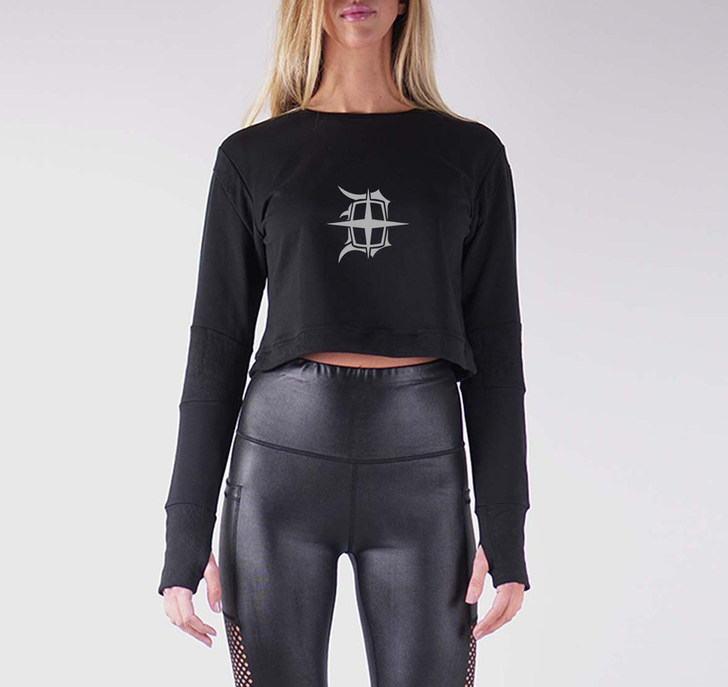 DETROIT PREMIUM LONG SLEEVE CROP TOP - WOMEN'S SLIM FIT