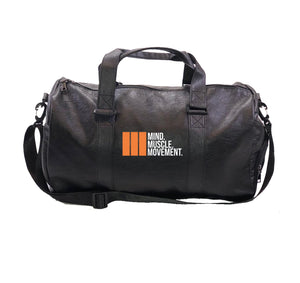 M3 VEGAN LEATHER DUFFEL BAG W/ SIDE POCKETS & SHOE SLEEVE