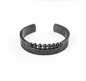 MADE APPAREL BRACELET STAINLESS STEEL w/LEATHER & ONYX BEADS