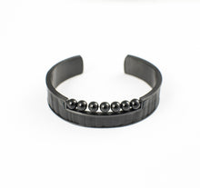 Load image into Gallery viewer, DIMIOURGIKO BRACELET STAINLESS STEEL w/LEATHER & ONYX BEADS