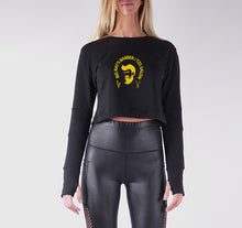 Load image into Gallery viewer, BIG RAY'S BARBER PREMIUM LONG SLEEVE CROP TOP - WOMEN'S SLIM FIT