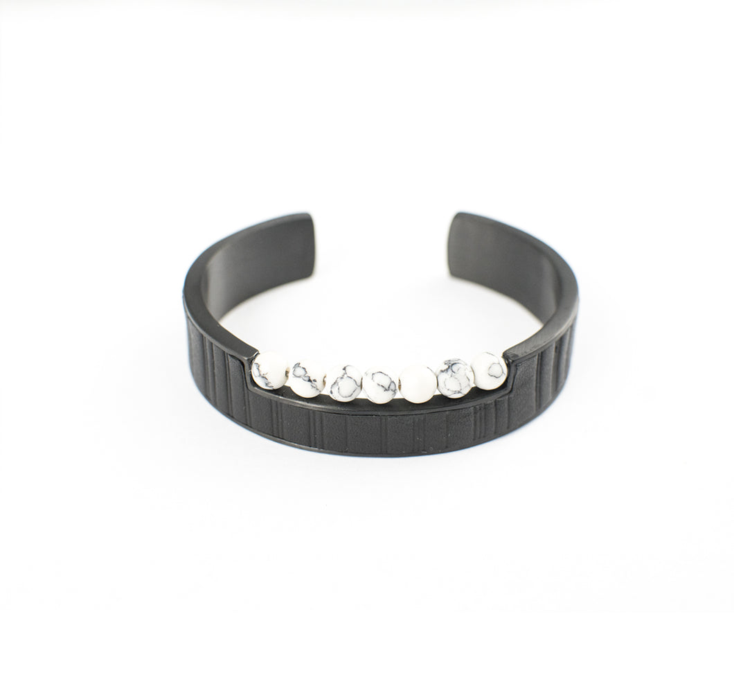 JAZZ HAMILTON BRACELET STAINLESS STEEL w/LEATHER & ONYX BEADS