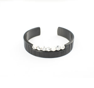 SHYLINE APPAREL BRACELET STAINLESS STEEL w/LEATHER & ONYX BEADS