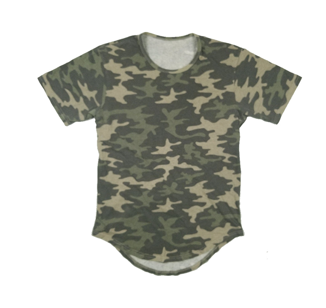 LAROSA CAMOUFLAGE LONG TAIL T-SHIRT