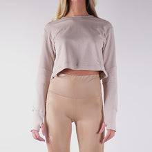Load image into Gallery viewer, STORM FRENCH TERRY CROP TOPS - BEIGE