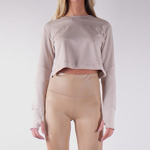STORM FRENCH TERRY CROP TOPS - BEIGE