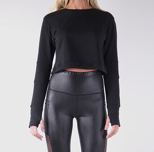 ILARIA FRENCH TERRY CROP TOPS - BLACK