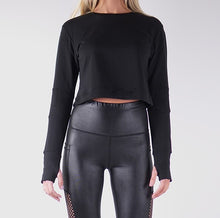 Load image into Gallery viewer, SOFIA FRENCH TERRY CROP TOPS - BLACK