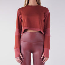 Load image into Gallery viewer, SOFIA FRENCH TERRY CROP TOPS - CLAY