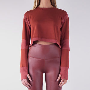 SOFIA FRENCH TERRY CROP TOPS - CLAY