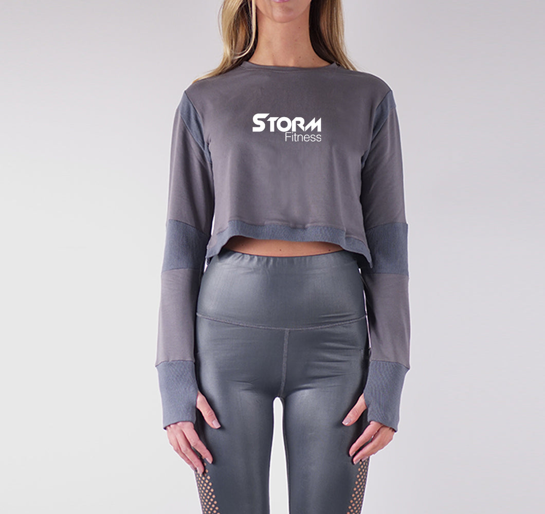 STORM FRENCH TERRY CROP TOPS - CHARCOAL