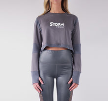 Load image into Gallery viewer, STORM FRENCH TERRY CROP TOPS - CHARCOAL