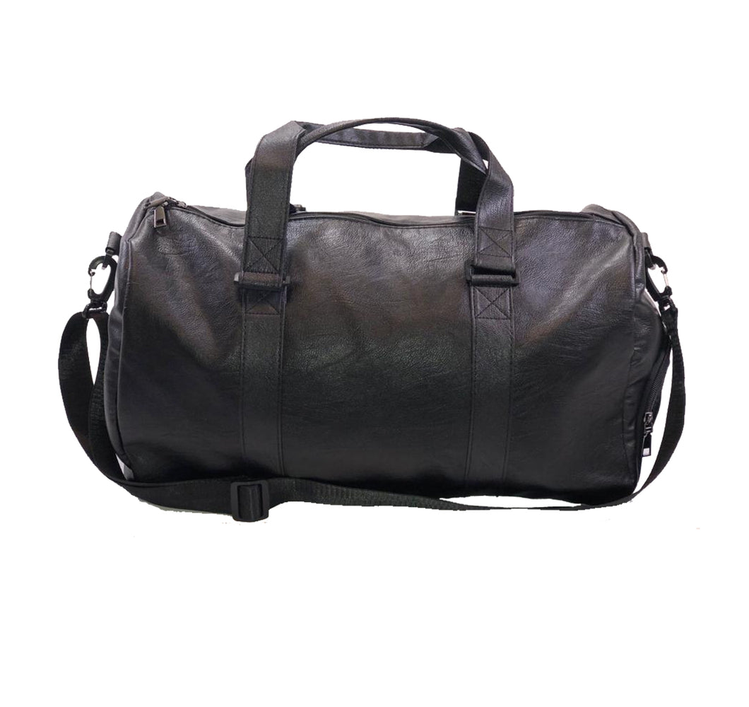 VEGAN LEATHER DUFFEL BAG W/ SIDE POCKETS