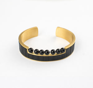 FOXX APPAREL BRACELET STAINLESS STEEL w/LEATHER & ONYX BEADS