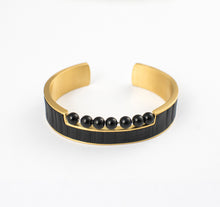 Load image into Gallery viewer, SHUU STREAM APPAREL BRACELET STAINLESS STEEL w/LEATHER & ONYX BEADS