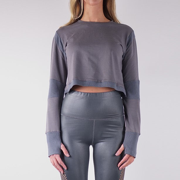 SOFIA FRENCH TERRY CROP TOPS - CHARCOAL