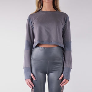 ILARIA FRENCH TERRY CROP TOPS - CHARCOAL