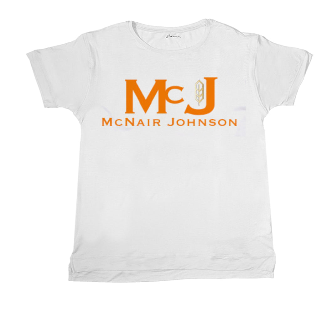 MC NAIR JOHNSON APPAREL ORANGE ON WHITE SHIRT