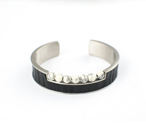 TIMTATION APPAREL BRACELET STAINLESS STEEL w/LEATHER & ONYX BEADS