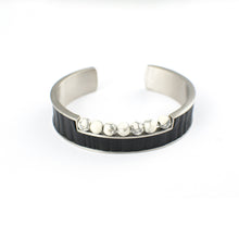Load image into Gallery viewer, ENZO BRACELET STAINLESS STEEL w/LEATHER & ONYX BEADS - BLACK/BLACK