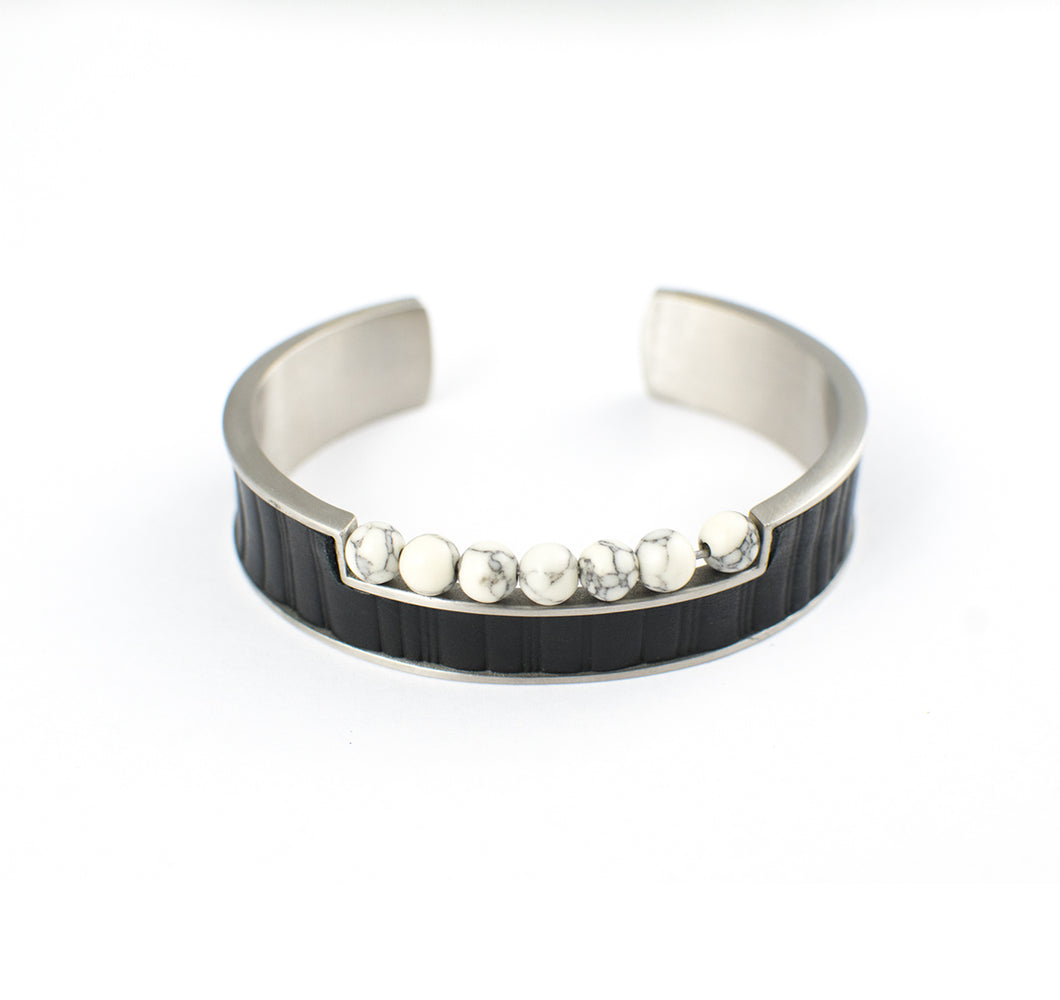 LINES OF TRANSFORMATION APPAREL BRACELET STAINLESS STEEL w/LEATHER & ONYX BEADS
