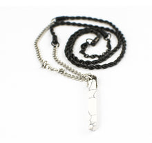 "Load image into Gallery viewer, BAMAFIT 32"" MATTE STAINLESS STEEL NECKLACE w/ ONYX PENDANT - UNISEX"