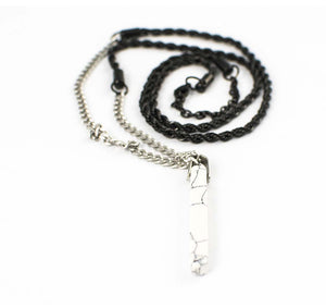 "GEMINI SOUL APPAREL 32"" MATTE STAINLESS STEEL NECKLACE w/ ONYX PENDANT - UNISEX"