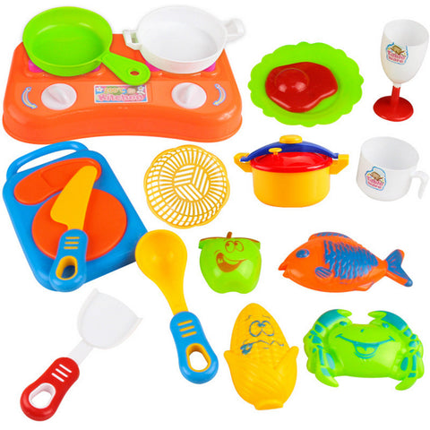 17 pc Plastic Children's Kitchen Toys Pretend Play Simulation