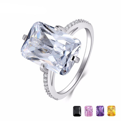 100% 925 Sterling Silver Rectangle 5A Clear Zircon Shining Ring Wedding Engagement Finger Ring