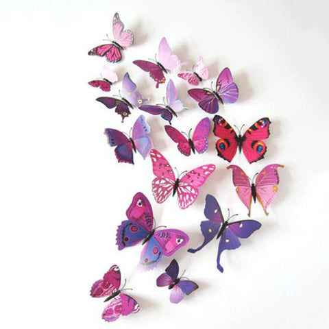 12 PCS Butterfly Removable Mural Stickers Wall Stickers